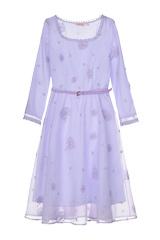 煙花燙YJJ2018春裝新款女裝氣質顯瘦純色刺繡中長連衣裙 舞霓裳(紫色 XXXL)