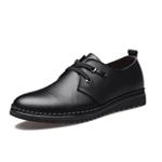 新款男士鞋牛皮休閑皮鞋橡膠底男鞋耐磨軟底系帶鞋子爸爸鞋8102(黑色)